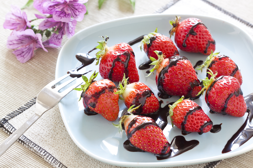 fresh strawberries and dark chocolate