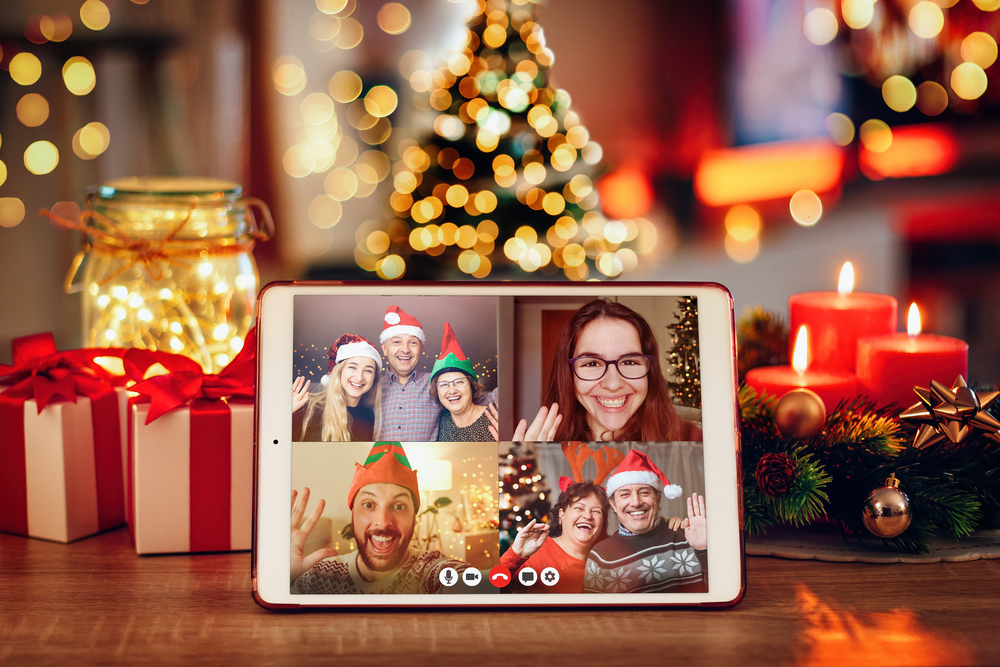 Christmas video call on Zoom with the family.