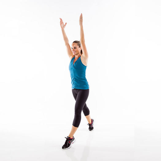 Woman performing a rising lunge move