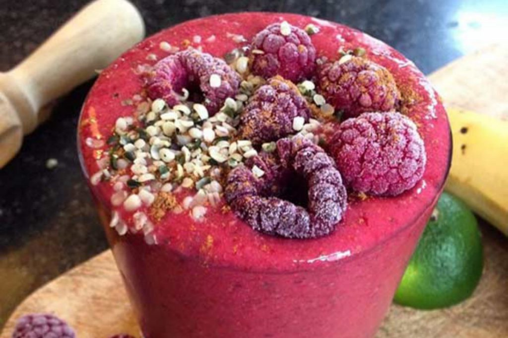 a raspberry smoothie
