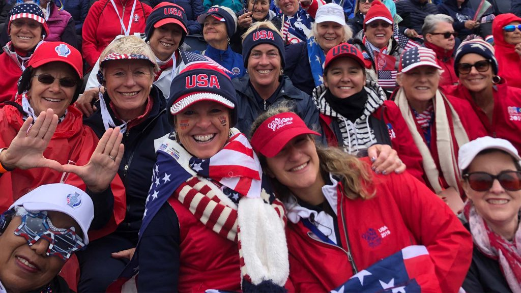 USA-clad golf fans cheer on the USA Team at the Solheim Cup