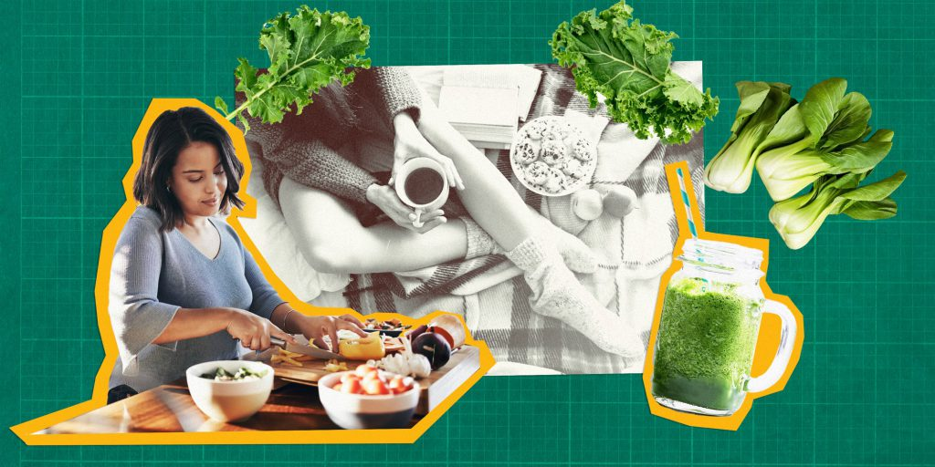 nutrition concept with a woman preparing healthy foods