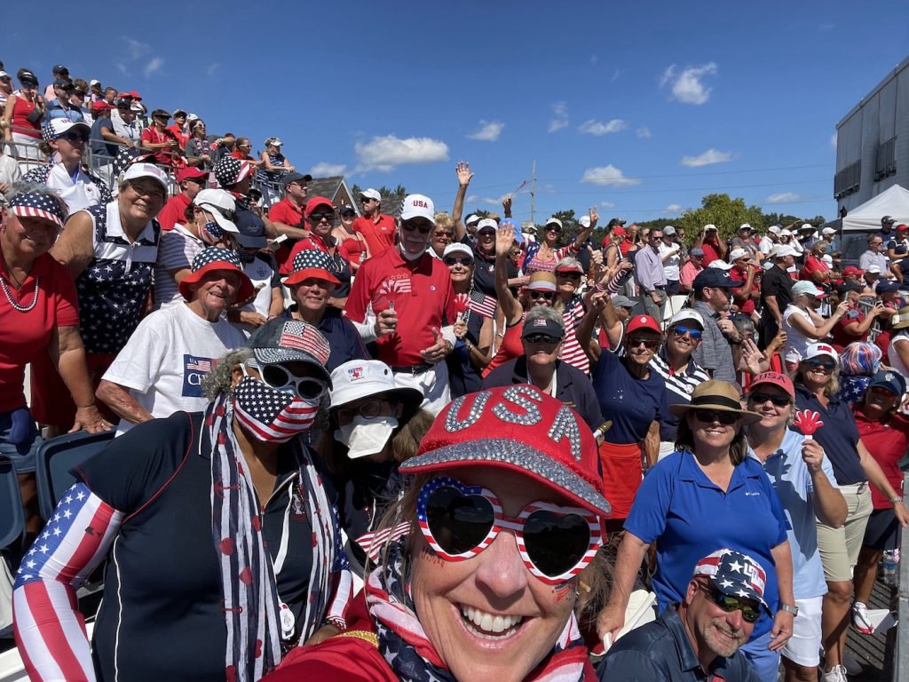 Debbie O'Connell with friends and fans at the Solheim Cup
